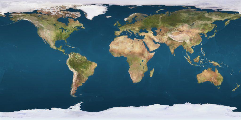 Die Verteilung Land - Wasser